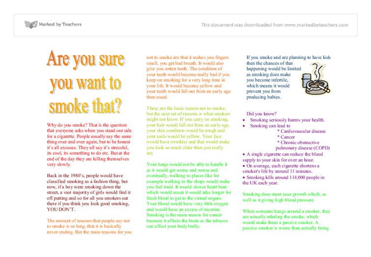 Writing to persuade Stop smoking leaflet - A-Level English - Marked