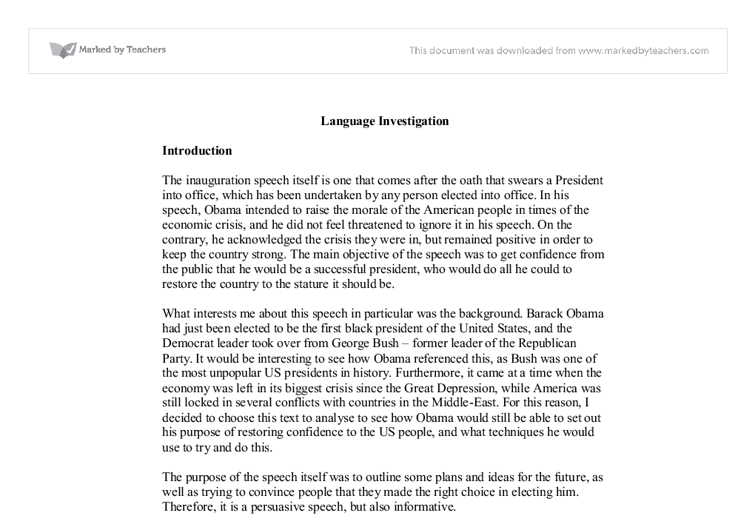 language investigation barack obama inaugural address a level  document image preview