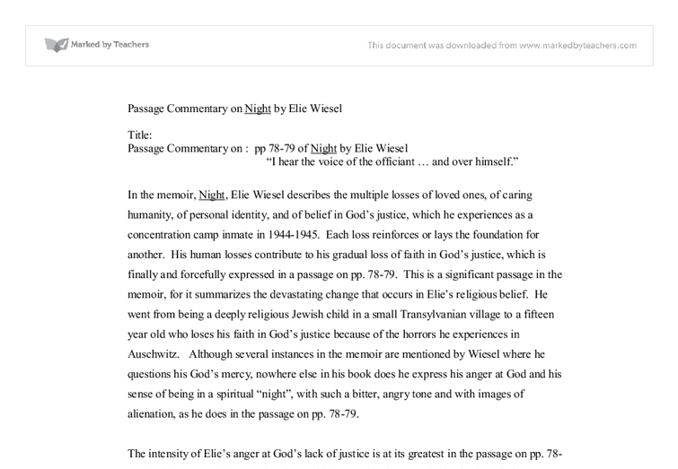passage commentary of night by elie wiesel a level english document image preview