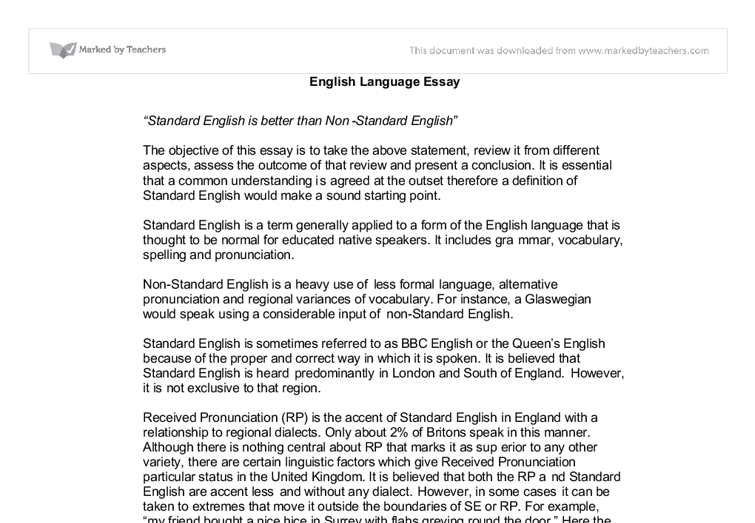 Standard Englishnonstandard English  Alevel English  Marked  Document Image Preview