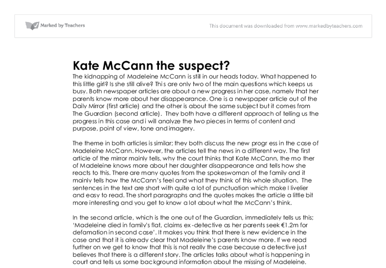 the kidnapping of madeleine mccann essay Justice for madeleine in 2009 friday, 2 january 2009 at  of madeleine mccann have  forty ie madeleine's parents age in his famous essay 'the.