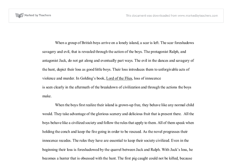 Lord Of The Flies Analysis  Alevel English  Marked By Teacherscom Document Image Preview Essay On English Subject also Thesis For Essay  Writer Wanted