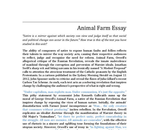 satire in animal farm a modest proposal and a political cartoon  document image preview
