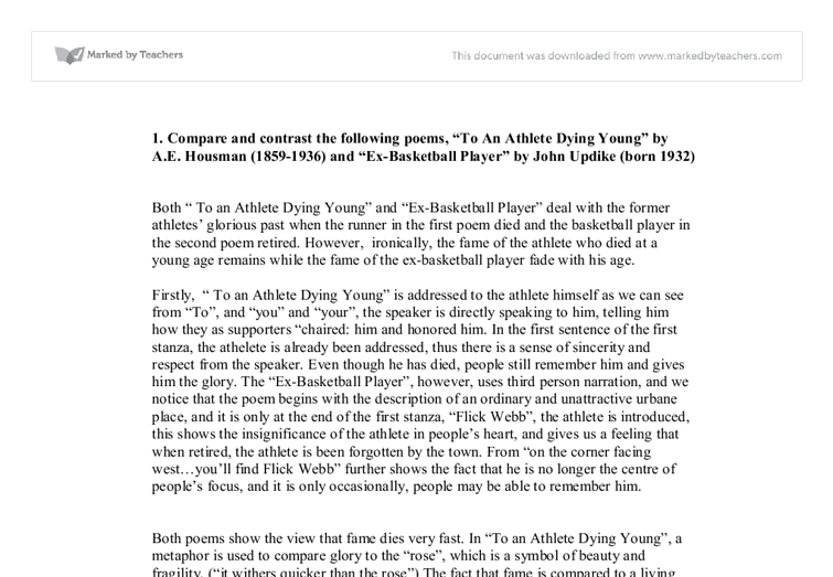 to a good basketball player death young examination essays