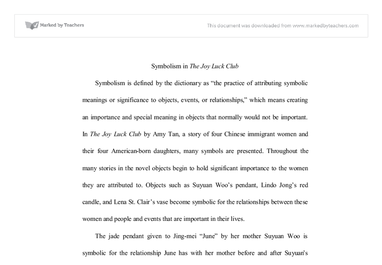 symbolism in the joy luck club a level english marked by  document image preview