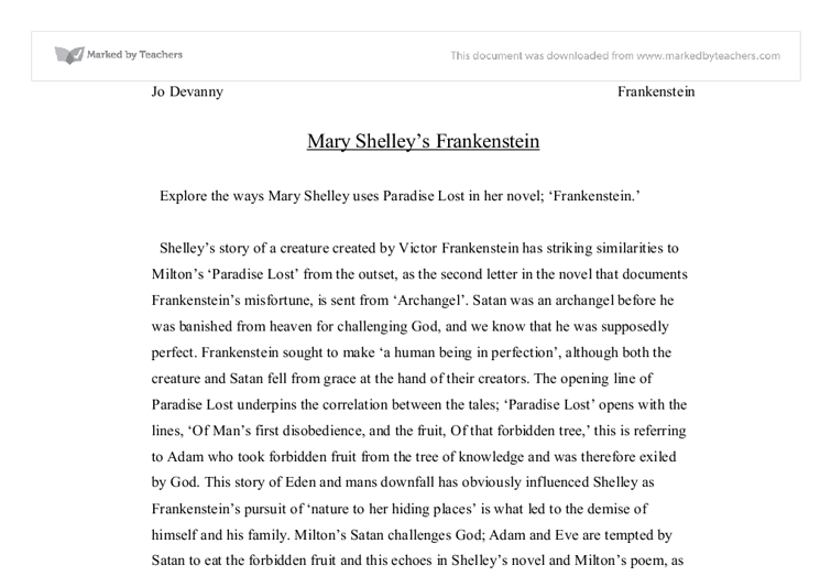 frankenstein and paradise lost a level english marked by  document image preview