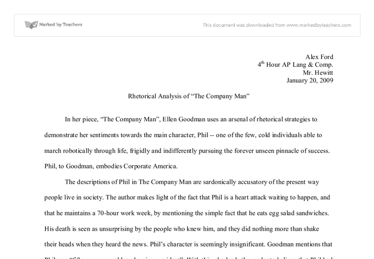the company man rhetorical analysis Using rhetorical strategies for persuasion summary:  there are three types of rhetorical appeals, or persuasive strategies,.