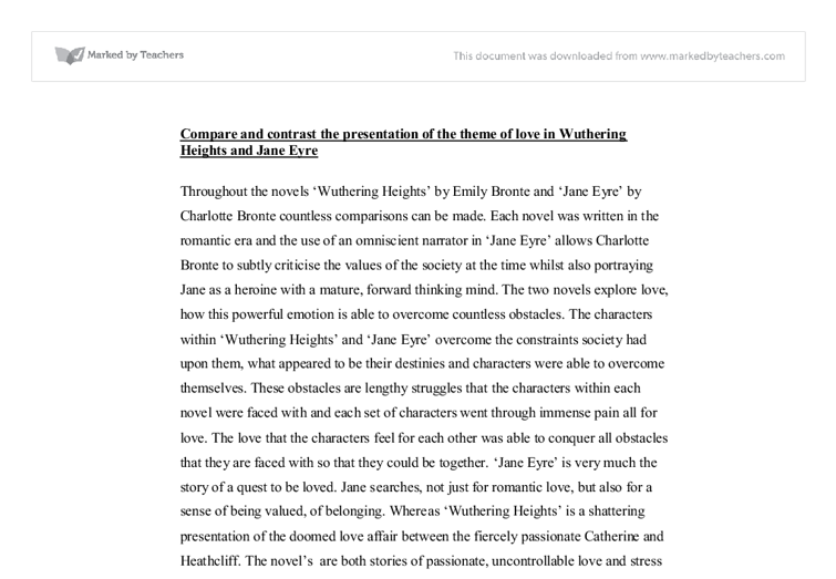 comparsion of jane eyre and wuthering heights a level english  document image preview