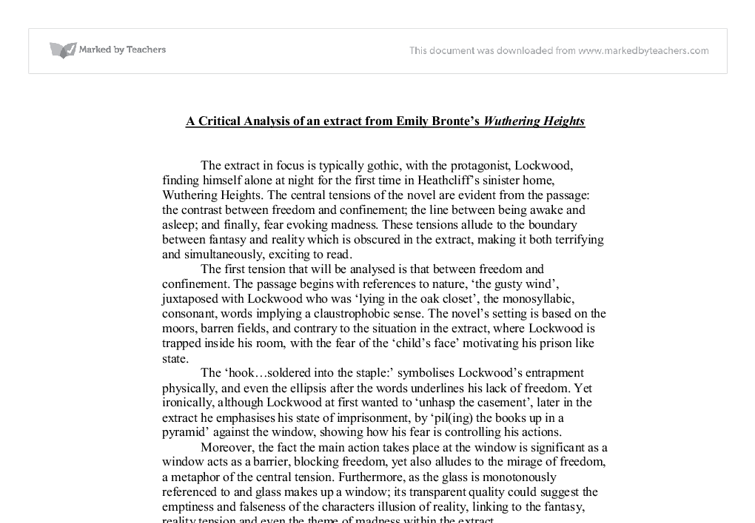 a critical analysis of an extract from emily bronte tm s wuthering  document image preview