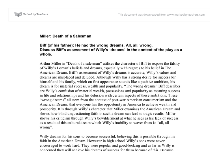 the relationship of biff and willy loman in the death of a salesman by arthur miller Death of a salesman study guide arthur miller establishes willy loman as a the major conflict in death of a salesman is between biff loman and.