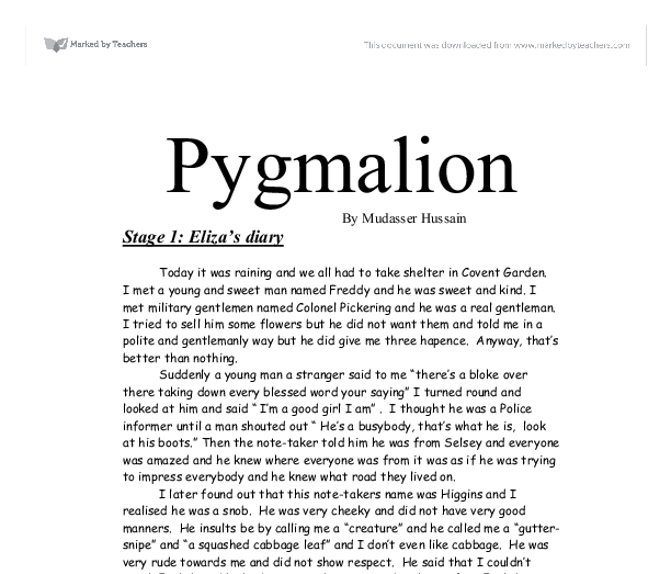 psychoanalysis of pygmalion essays The novel pygmalion written by bernard shaw demonstrates that proper speech and a fake appearance can easily fool the upper class english analysis essay - pygmalion.
