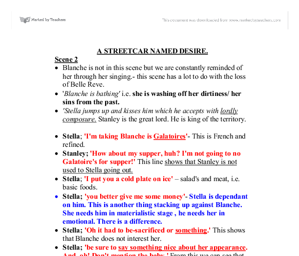 streetcar named desire essay topics Writing sample of essay on a given topic a streetcar named desire.