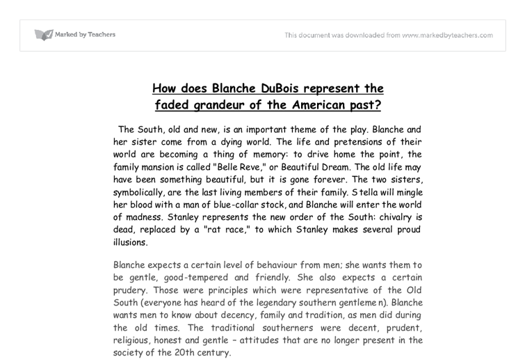 how does blanche dubois represent the faded grandeur of the  document image preview