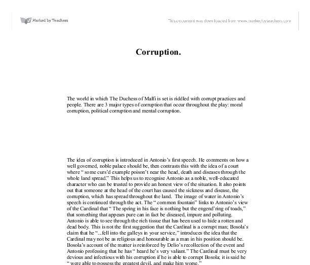 corruption in the duchess of malfi a level english marked by  document image preview