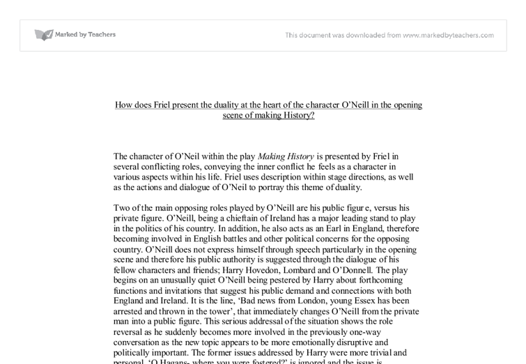 making history brian friel essay Mapping postcolonial ireland: the political geography of brian brian friel's meta-history central eurasia', the international history.