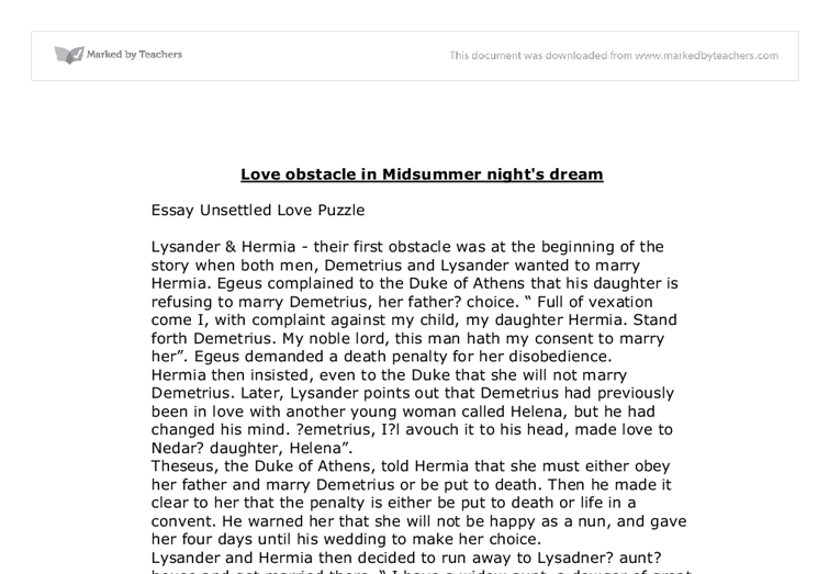 love obstacle in midsummer night s dream a level english document image preview