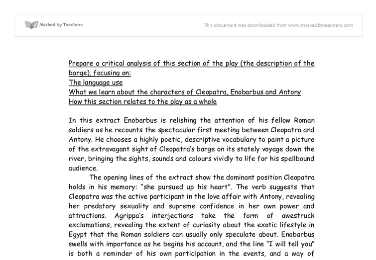 antony and cleopatra essay questions Suggested essay topics  their complaints about antony's neglected duties frame the audience's understanding of cleopatra, the queen for whom antony risks his .