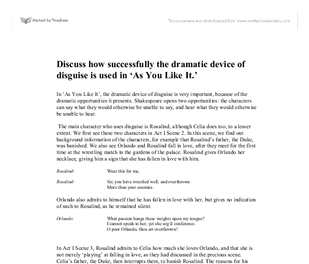 how successfully the dramatic device of disguise is used in as you like it essay Buy low-priced essays from our custom essay writing service any topic, any discipline, any academic level and only for you my friends we have an offer: use the promo code smm2 and save up to 20% on your order reply retweet retweeted like liked.