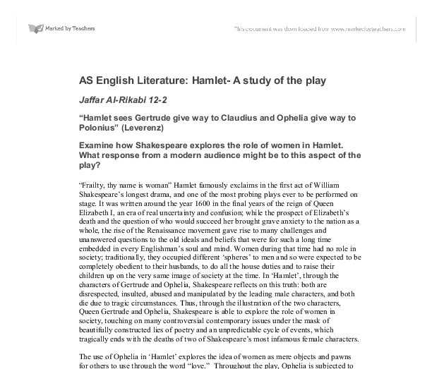 hamlets relationship with ophelia and gertrude english literature essay Free term papers & essays - the relationship between mother and son in the relationship between mother and son in hamlet his relationship with gertrude.