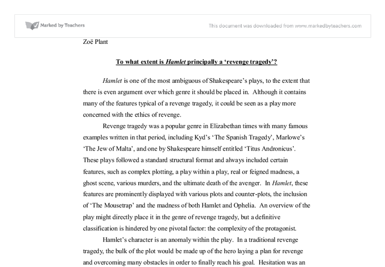 to what extent is hamlet principally a revenge tragedy essay