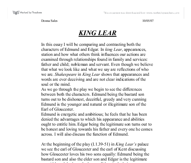 Transformations in king lear essay