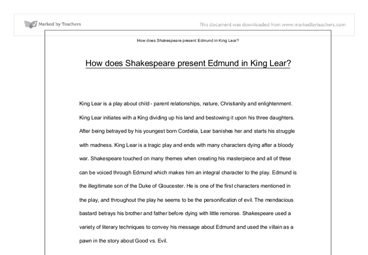 how does shakespeare present edmund in king lear a level  document image preview