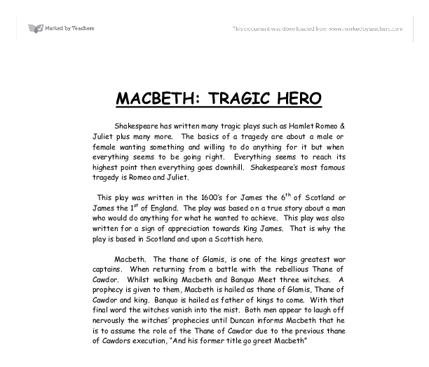 macbeth the tragic hero shakespeare essay