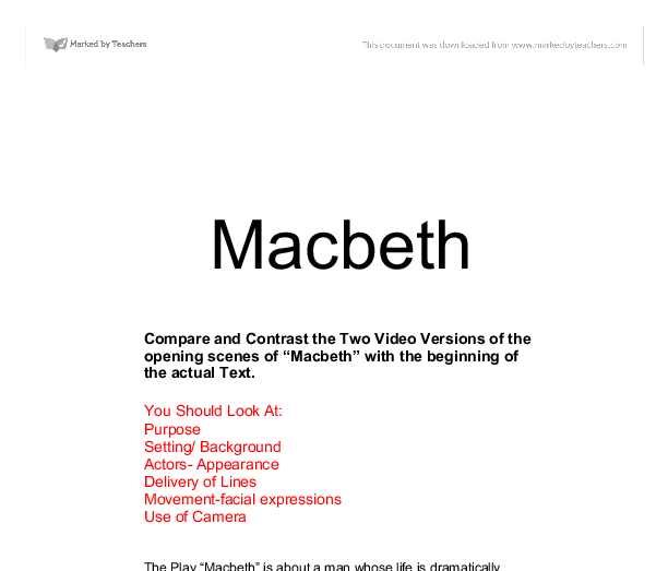 compare contrast essay macbeth beowulf Compare/contrast the attitudes of beowulf and achillies toward fame and ambition use supporting evidence from the texts your responses should be at least two paragraphs/10 sentences in length.