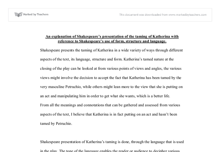 essay taming of the shrew katherina Free essay on taming of the shrew illusion vs reality available totally free at echeatcom, the largest free essay community.