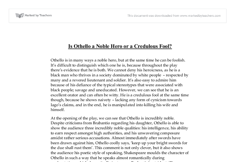 is othello a noble hero or a credulous fool a level english  document image preview