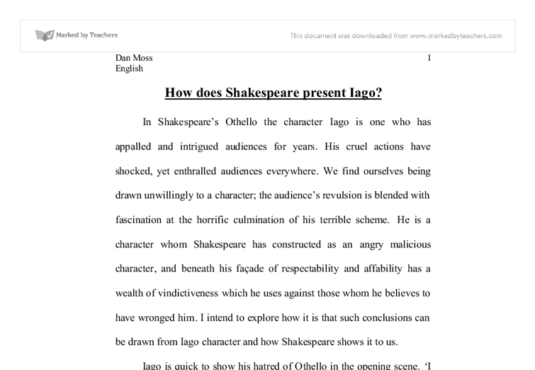 examine the friendship between othello and iago and how it links  how does shakespeare present iago