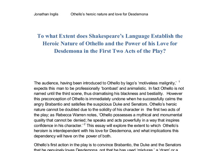 Did Othello truly love Desdemona? Essay Sample
