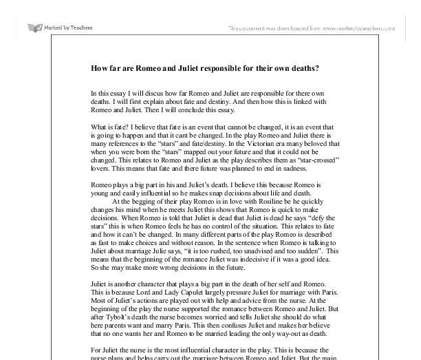 how far are romeo and juliet responsible for their own deaths a  document image preview
