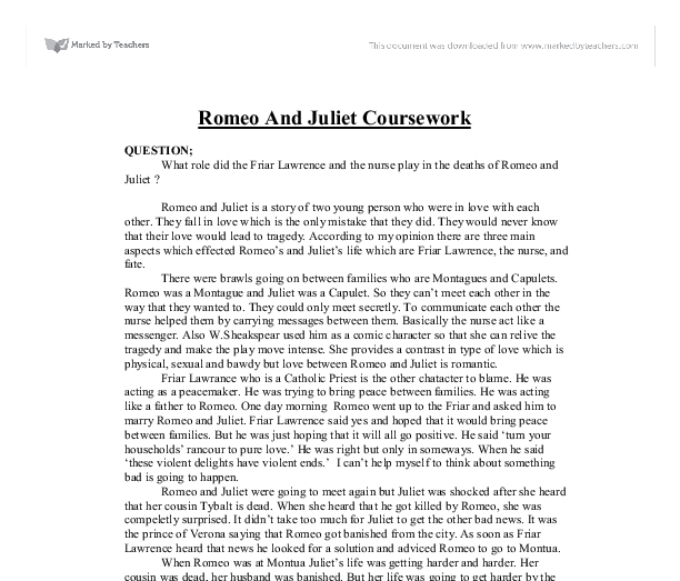Essay/Term paper: Romeo & juliet: friar lawrence