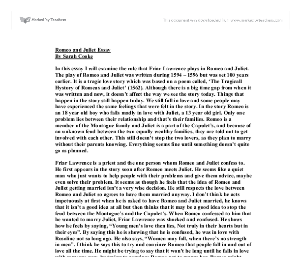 blaming friar lawrence essay Romeo and juliet analytical essay friar laurence is to blame for the death of rome for he fails to send the letter, which informs him about the pan.