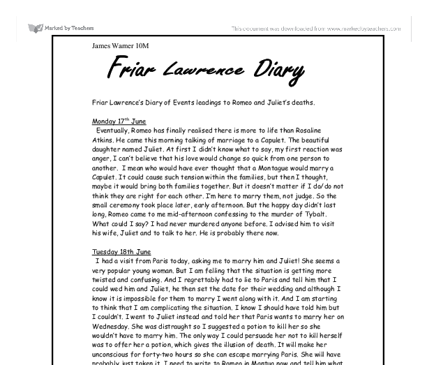 friar lawrence s diary of events leadings to romeo and juliet s  document image preview