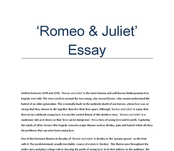 Romeo and Juliet - Compare and Contrast Essay - Document in GCSE ...