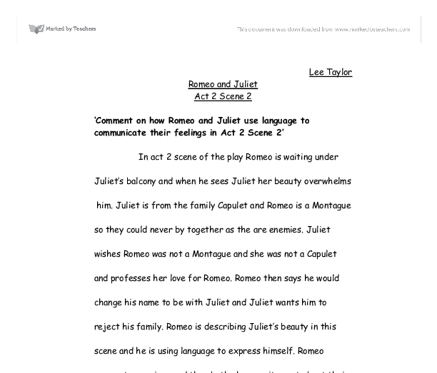 Persuasive Essays For High School Romeo And Juliet Act  Scene   Comment On How Romeo And Juliet  Living A Healthy Lifestyle Essay also Exemplification Essay Thesis Romeo And Juliet Act  Scene   Alevel English  Marked By  Example Of Thesis Statement For Argumentative Essay
