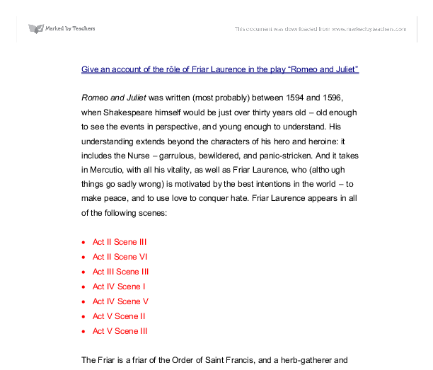 friar laurence and nurse essay
