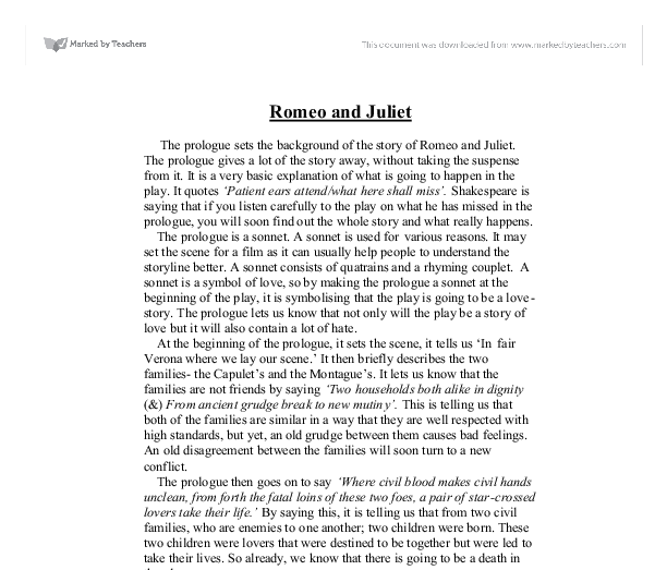 shakespeare essay romeo and juliet Romeo and juliet essay in romeo and juliet romeo and juliet is a complex put mercutio before juliet shakespeare uses the concept love at first.