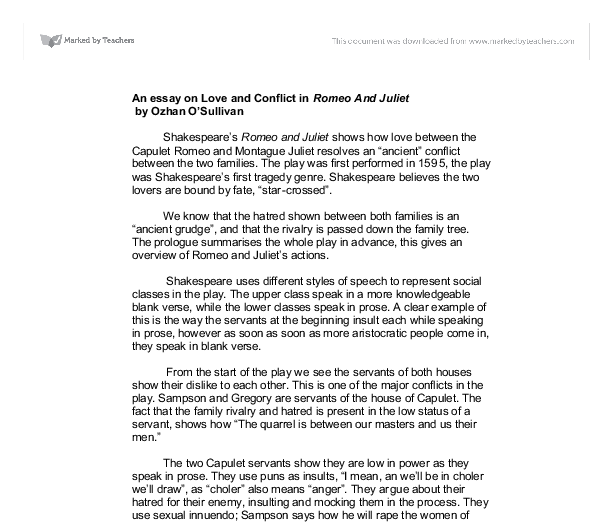 European Union Essay Love And Conflict In Romeo And Juliet A Level English Marked Document Image  Preview Sociological Imagination Essay also Persuasive Essay On Homeschooling Shakespeare Romeo And Juliet Essay How Has Baz Luhrmann Adapted  Descriptive Essay On My Best Friend