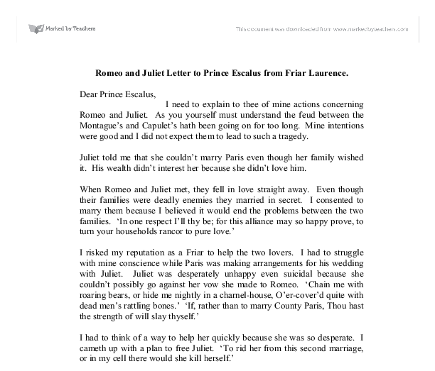 the role of friar lawrence in the novel romeo and juliet Mercutio and thersites, and friar laurence and ulysses, with respect to the  functions  comments on shakespeare's telescoping of the story into a fet~ days 40.