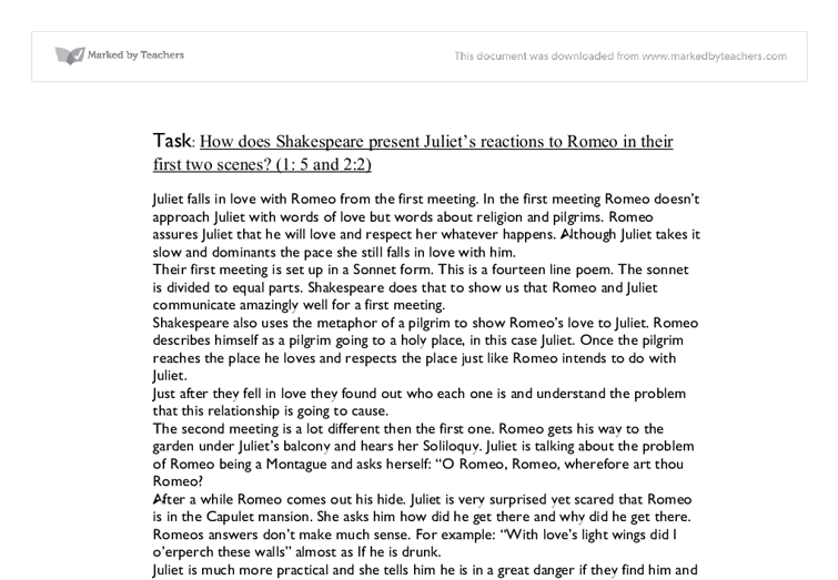 romeo and juliet reaction essay
