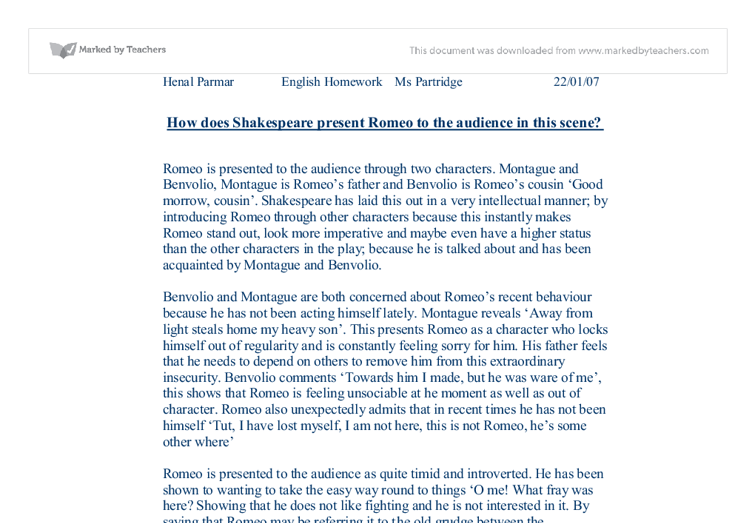 romeo presented to the audience essay Violence and conflict central to romeo and juliet  necessarily reflect the views of uk essays  shows the audience that romeo and juliet are ill-fated and their.