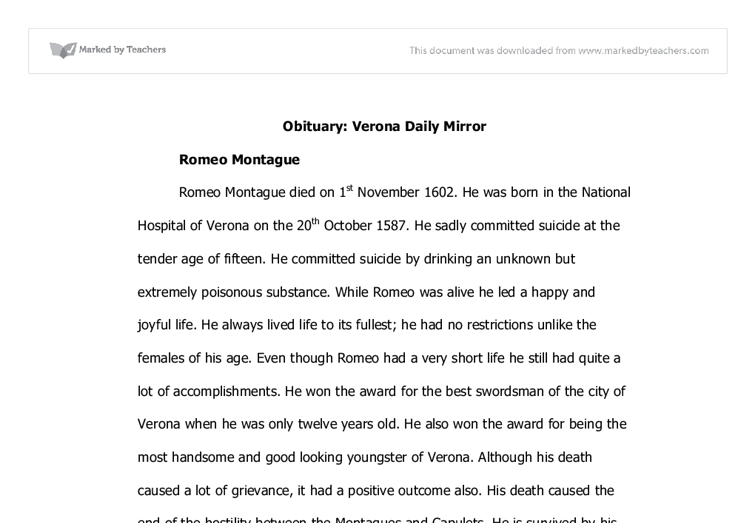 essay topics for romeo and juliet english persuasive essay topics  fictional obituary romeo and juliet a level english marked by document image preview