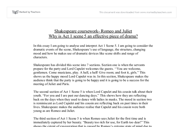 shakespeare coursework romeo and juliet why is act scene an document image preview
