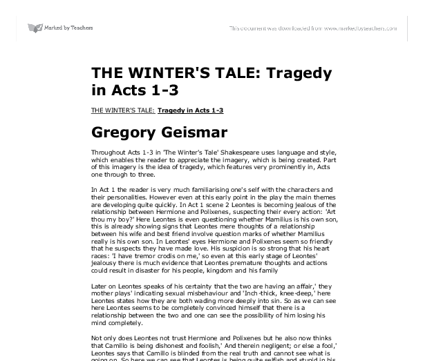 winters tale essay Felicie, the heroine of rohmer's ''a tale of winter'' (1992), is convinced that life will fall into line with her great romantic purpose having met the love of her life and lost track of him, she expects him to return she believes in coincidence--but doesn't believe it is coincidence as the film opens, she meets.