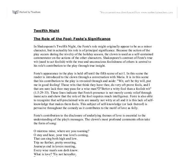 scholarly essays twelfth night Playing the fool: feste and twelfth night by brooklyn robinson submitted to scripps college in partial fulfillment of the degree of bachelor of arts arthur horowitz.