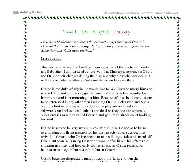 shakespeare twelfth night love essay Analysis of malvolio in the twelfth night by shakespeare essay the character of malvolio is treated too cruelly for twelfth night to be classed as a comedy.