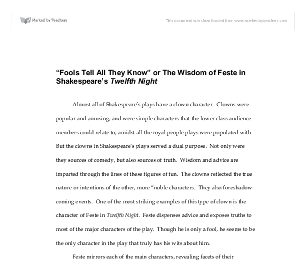 Feste in twelfth night essay ideas
